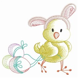 Chick With Eggs embroidery design