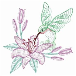 Lily Hummingbird embroidery design