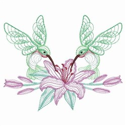 Hummingbird Lily embroidery design