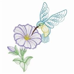 Hummingbird Morning Glory embroidery design