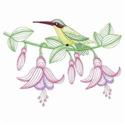 Rippled Hummingbirds embroidery design