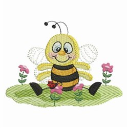 Bee In Flowers embroidery design