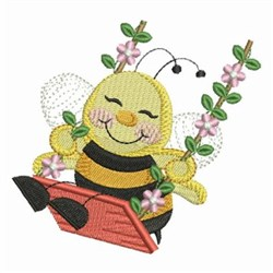 Bee On Swing embroidery design