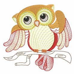 Owl On Limb embroidery design