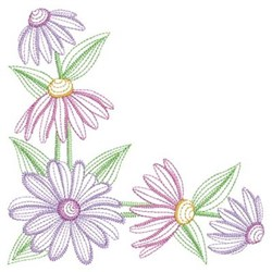 Corner Daisy embroidery design