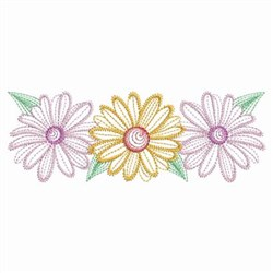 Vintage Daisy Border embroidery design