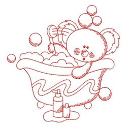 Redwork Bath Time embroidery design