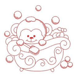 Monkey Bath Time embroidery design