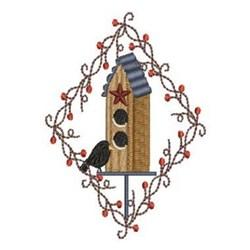 Country Diamond Birdhouse embroidery design