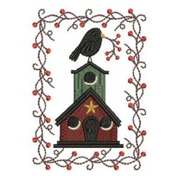 Crow On Birdhosue embroidery design