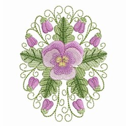 Pansy Beauty Oval embroidery design
