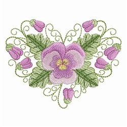 Pansy Beauty Heart embroidery design