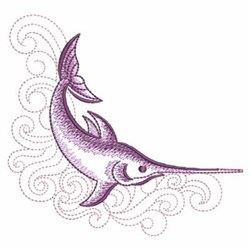 Sketched Swordfish embroidery design