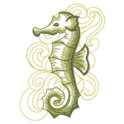 Sketched Seahorse embroidery design