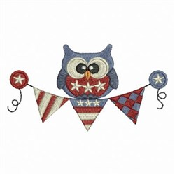 Patriotic Banner Owl embroidery design