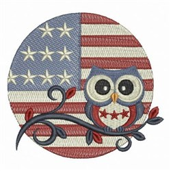 Flag Owl embroidery design
