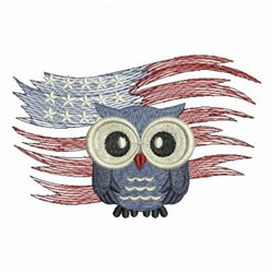 Patriotic Flag Owl embroidery design