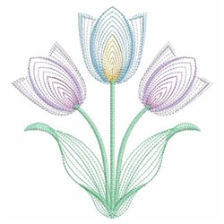 Vintage Tulips embroidery design
