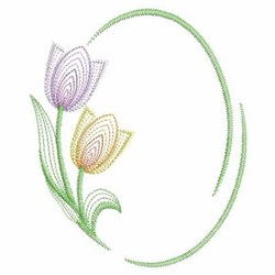 Tulips Oval embroidery design