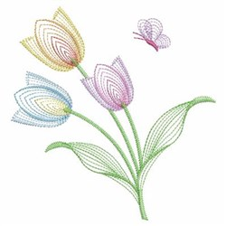 Tulips & Butterfly embroidery design
