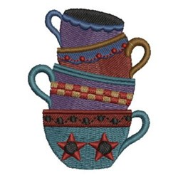 Country Tea Cups embroidery design