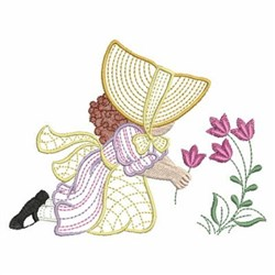 Sunbonnet Pickng Flowers embroidery design