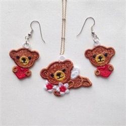 FSL Bear Earrings Pendant embroidery design