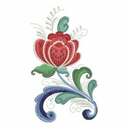 Rosemaling Rose embroidery design