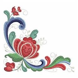 Rosemaling Roses Corner embroidery design