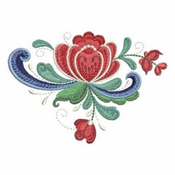 Rosemaling Roses Spray embroidery design