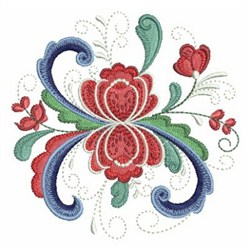 Rosemaling Roses Circle embroidery design