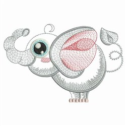 Rippled Baby Elephant embroidery design