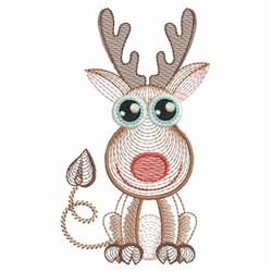 Rippled Baby Reindeer embroidery design