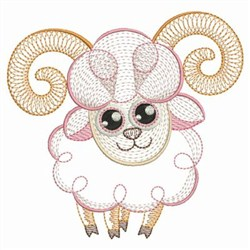 Rippled Baby Ram embroidery design