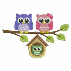 Baby Owl Family embroidery design