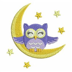 Baby Nighttime Owl embroidery design