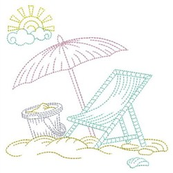 Summer Beach Outline embroidery design