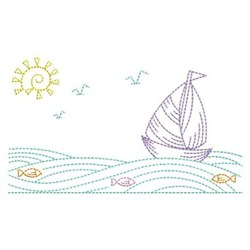 Summer Ocean Outline embroidery design
