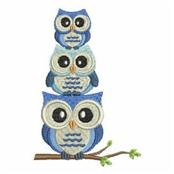 Stacked Owls embroidery design