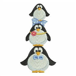Stacked Penguins embroidery design