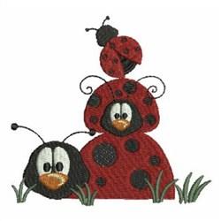 Stacked Ladybugs embroidery design