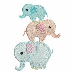 Stacked Elephants embroidery design