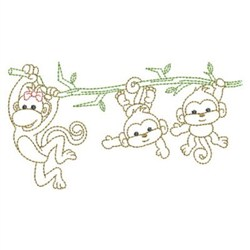 Monkey Family Outline embroidery design