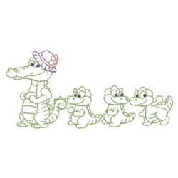 Alligator Family Outline embroidery design