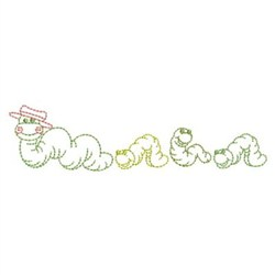 Worm Family Outline embroidery design