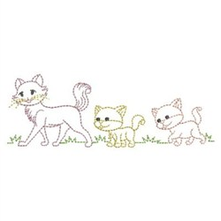 Cat Family Outline embroidery design