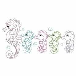 Seahorse Family Outline embroidery design