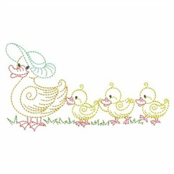 Duck Family Outline embroidery design