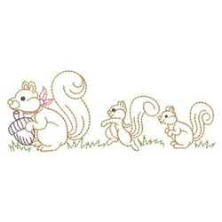 Squirrel Family Outline embroidery design