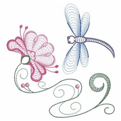 Rippled Dragonfly embroidery design